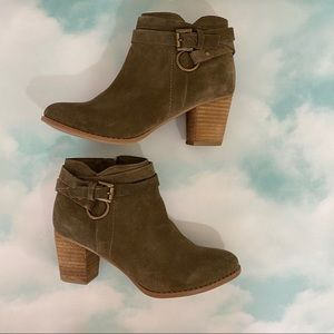 Olive Green Heeled Booties